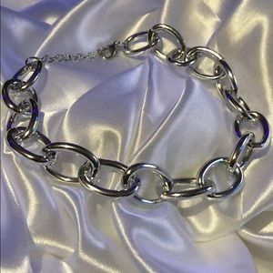 🔗 chunky chain link silver necklace choker 🔗
